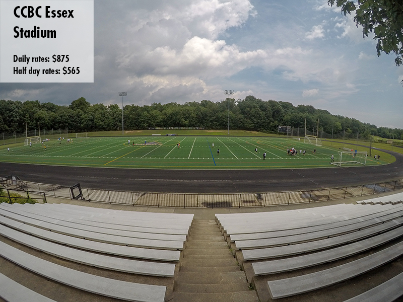 Photo of the CCBC Essex stadium. Daily rates: $280 Half day rates: $180