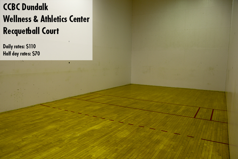 Photo of the CCBC Dundalk racquetball court