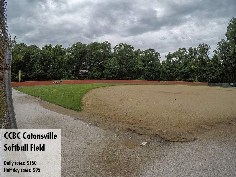Photo of the CCBC Catonsville softball field. Daily rates: $150 Half day rates: $95
