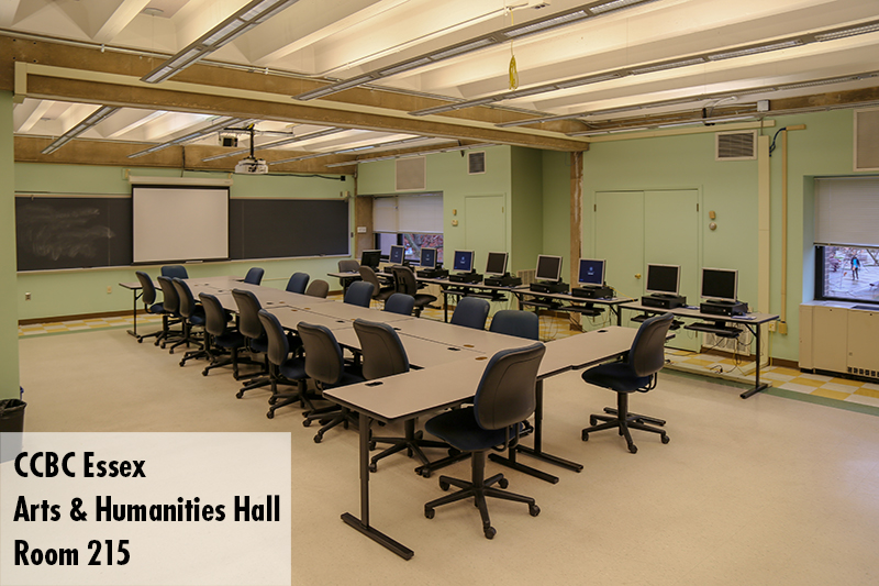 Photo of classroom 215 in the Arts and Humanities Hall on the Essex campus