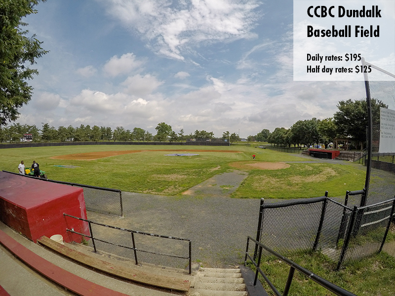 Photo of the CCBC Dundalk baseball field. Daily rates: $195 Half day rates: $125
