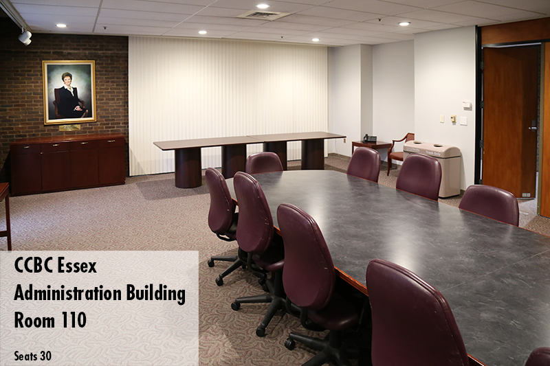 Photo of the Essex campus conference room in the Admin Building. Room 110, seats 30