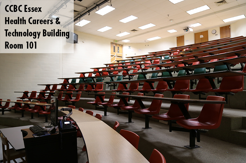 Photo of classroom 101 in the Health Careers & Technology Building on the Essex campus