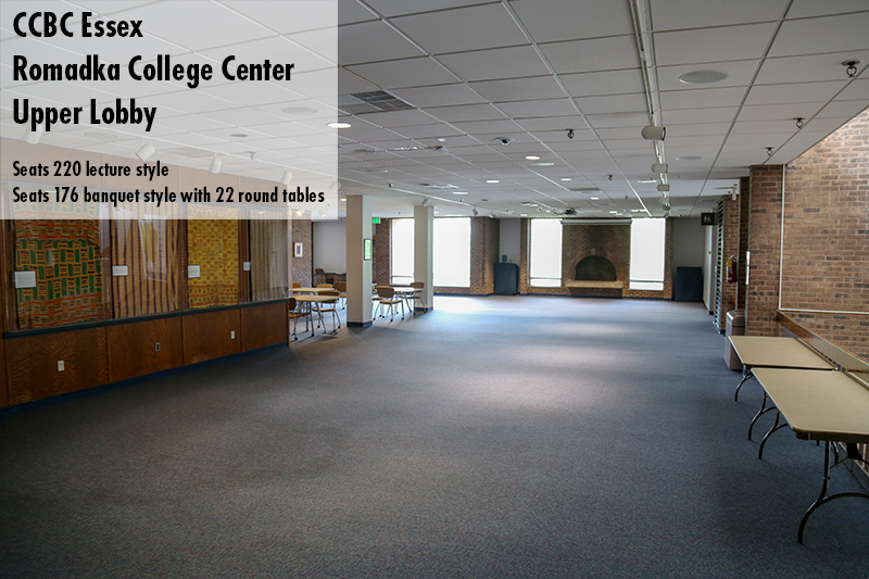 Photo of the CCBC Essex Romadka College center upper lobby
