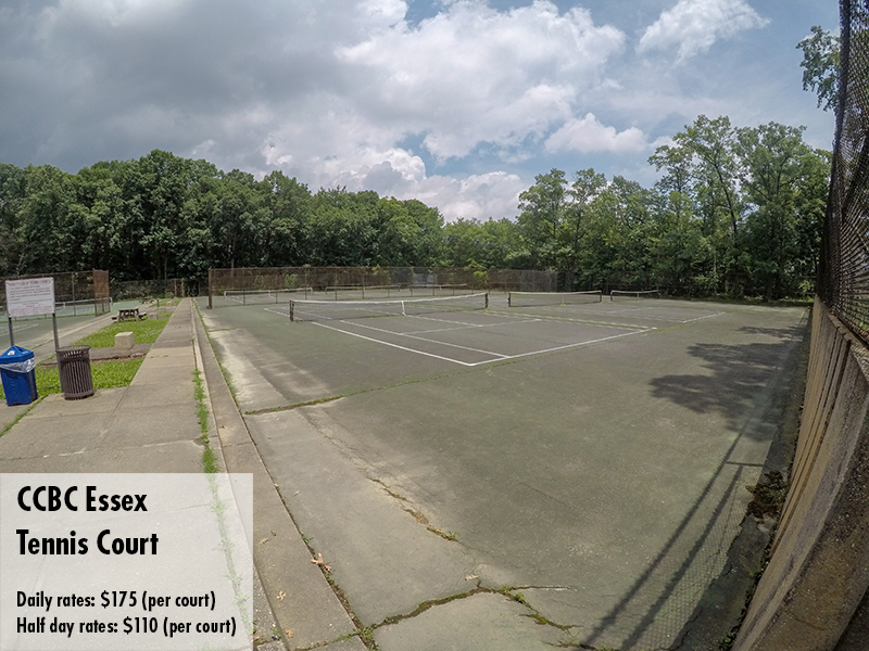 Photo of the CCBC Essex tennis court. Daily rates: $175 Half day rates: $110
