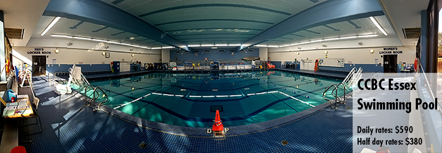 Photo of the CCBC Essex Swimming pool. Daily rates $590 and half day rates $380.