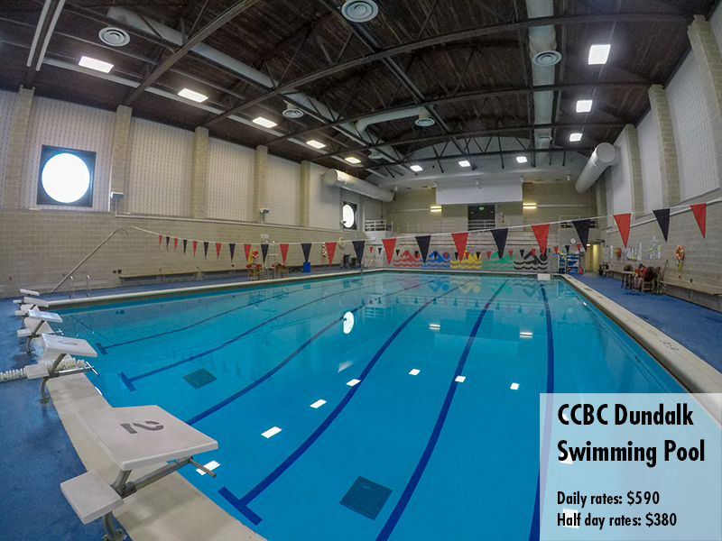 Photo of the CCBC Dundalk swimming pool. Daily rates: $590 Half day rates: $380