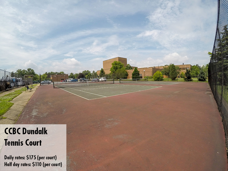 Photo of the CCBC Dundalk tennis court. Daily rates: $175 Half day rates: $110