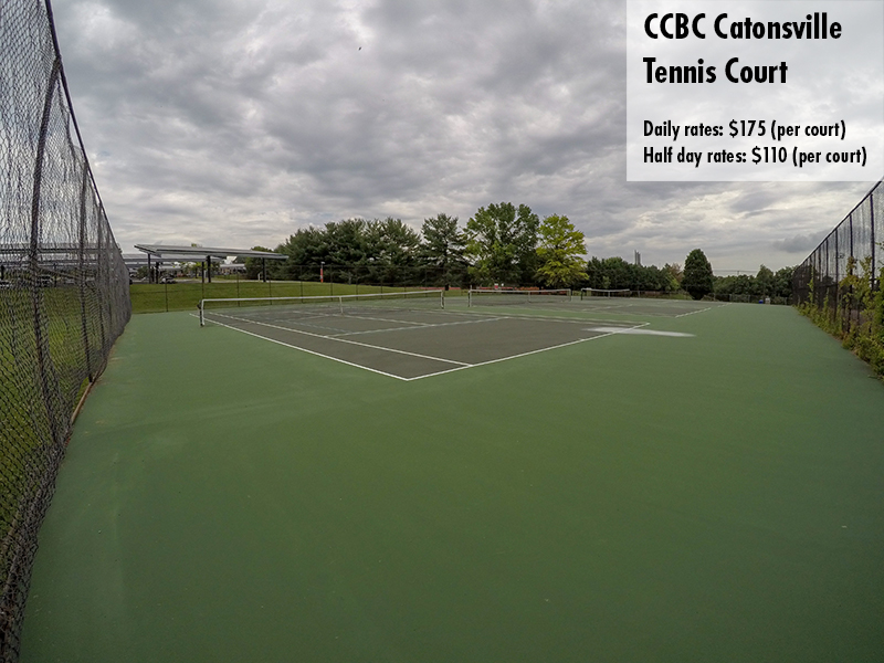 Photo of the CCBC Catonsville tennis court. Daily rates: $175 Half day rates: $110
