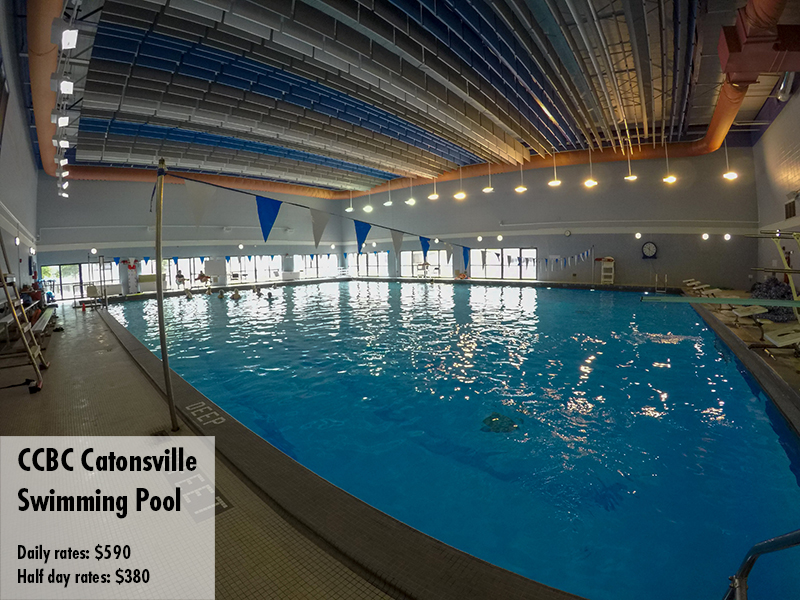 Photo of the CCBC Catonsville swimming pool. Daily rates: $590 Half day rates: $380