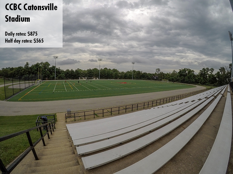 Photo of the CCBC Catonsville stadium. Daily rates: $280 Half day rates: $180