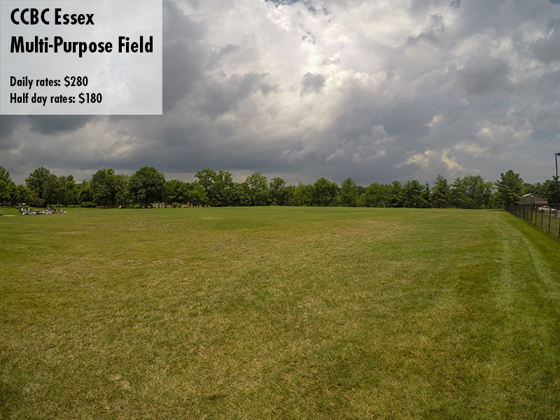Photo of the CCBC Essex Multi-purpose field. Daily rates: $280 Half day rates: $180