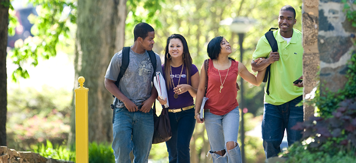 A group of CCBC students walk on the CCBC Catonsville campus
