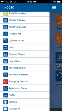 Mobile screenshot of the myCCBC app navigation menu