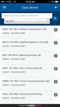 Mobile screenshot of the myCCBC app class search feature