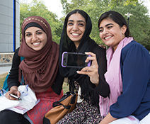 three female students taking a selfie picture
