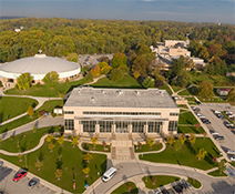 aerial photo of the library on the catonsville campus