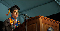 Photo of Sagar Chapagain giving a speech at the 2015 CCBC Commencement Ceremony