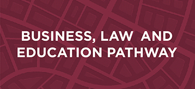 Graphic for the Business, Law and Education Pathway