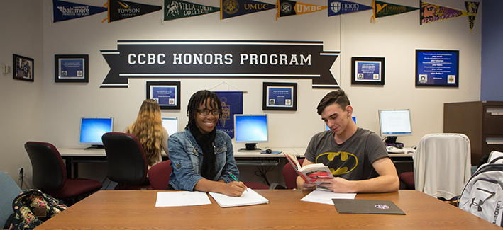 Two CCBC students study together in the Honors program lab