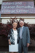 Bob and Eleanor Romadka posing for a pic on campus