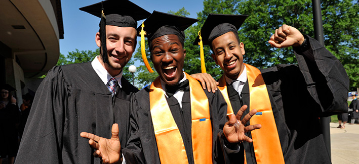 Group of student posing for a photo on commencement day