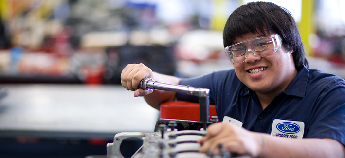 CCBC student gets hands on training in the automotive lab