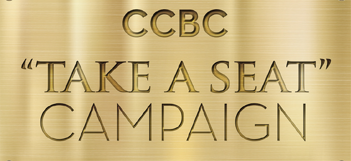 Illustration of CCBC Take a Seat Campaign engraved in gold
