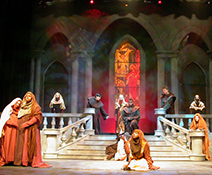 Student theater production, actors on stage in medieval dress