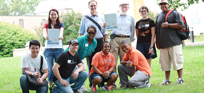 A group of CCBC student and FYE mentors gather for a group photo