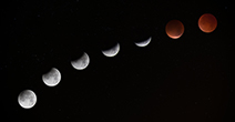 7 moons illustrate the phases of the moon