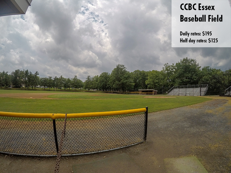 Photo of the CCBC Essex baseball field. Daily rates: $195 Half day rates: $125