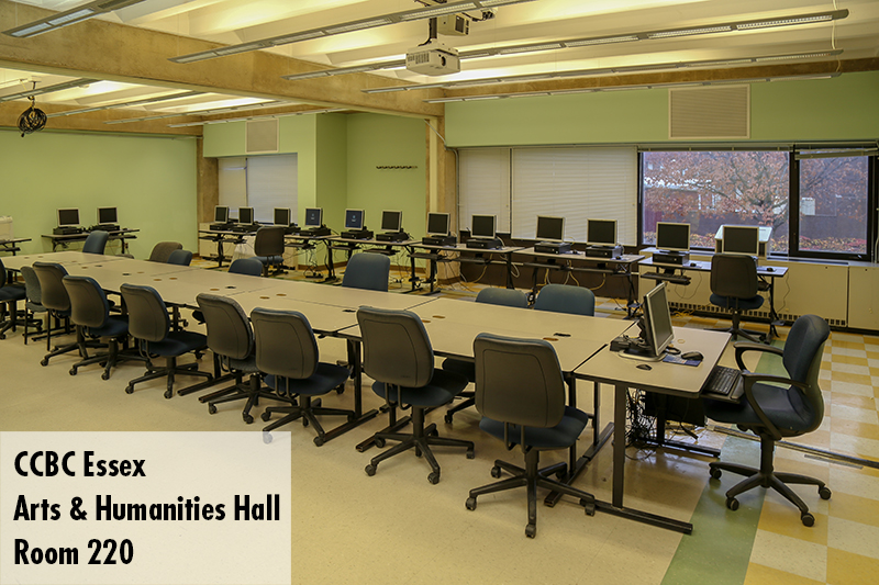 Photo of classroom 220 in the Arts and Humanities Hall on the Essex campus