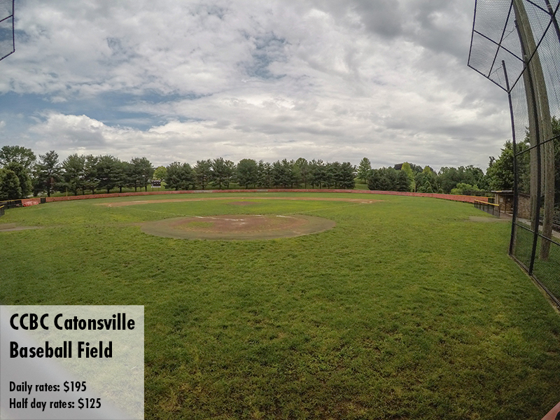 Photo of the CCBC Catonsville baseball field. Daily rates: $195 Half day rates: $125